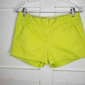 J Crew Women's Neon Yellow Green Chino Shorts 2